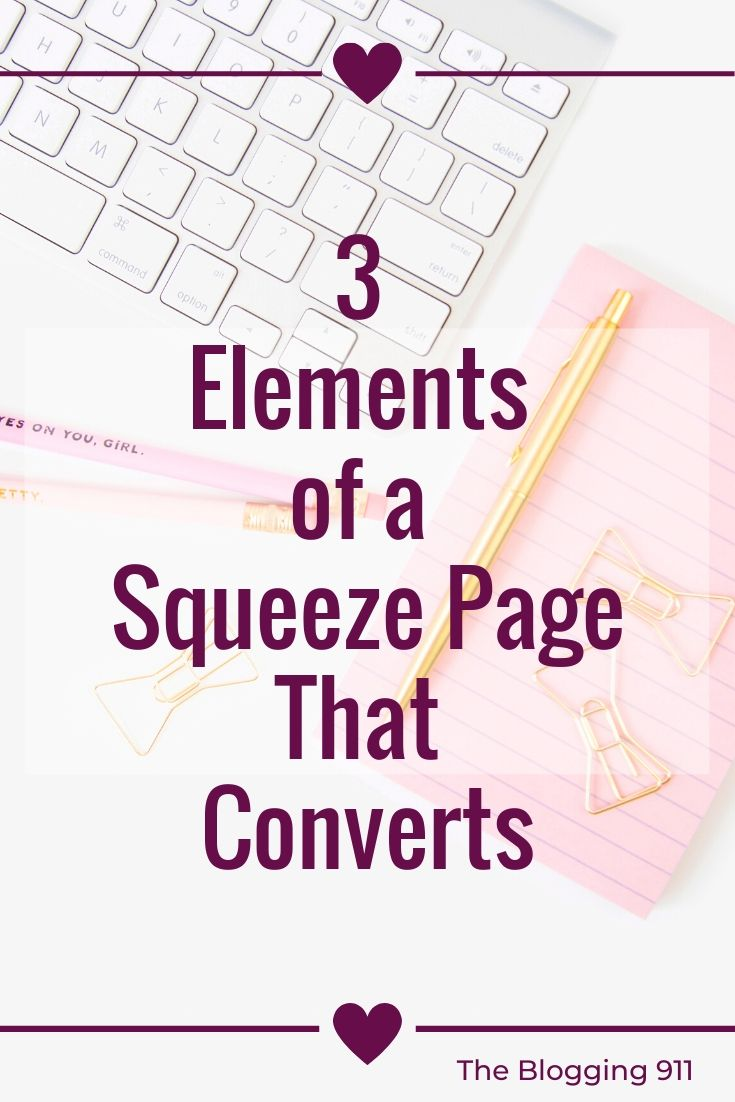 Flat lay desk 3 elements of a squeeze page that converts
