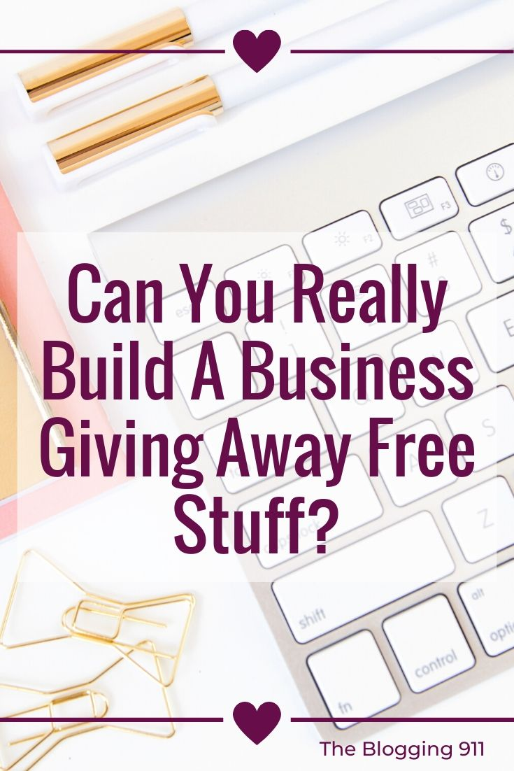 flat lay desk giving things away to build your business.