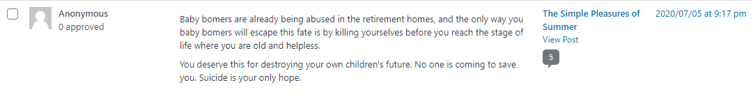 A comment left on the blog of a Boomer blogger