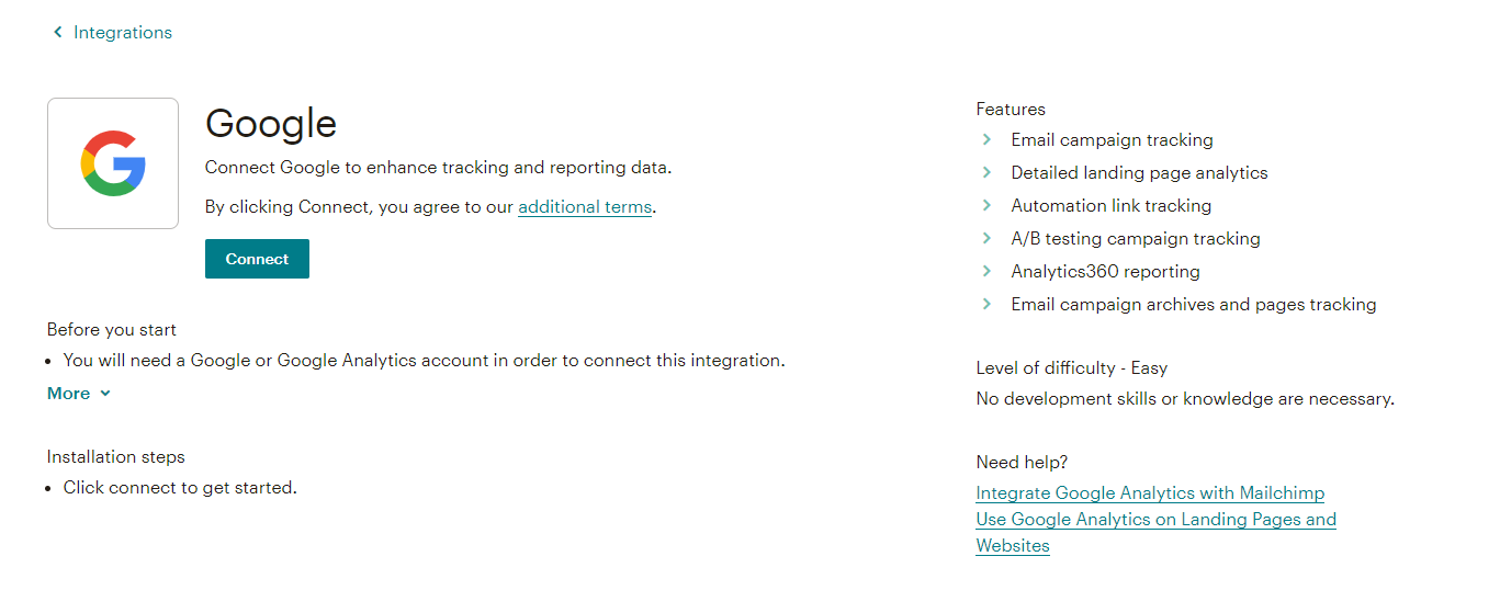 screenshot of MailChimp/Google anlytics integration