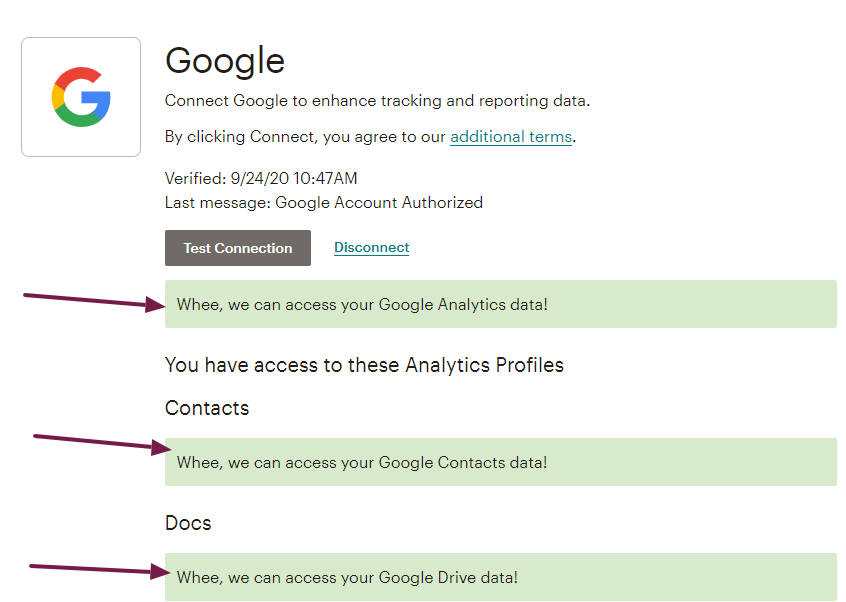 screenshot of MailChimp / Google Analytics integration