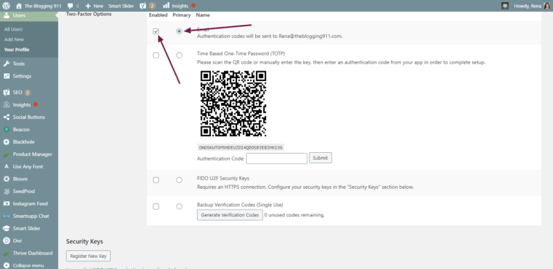 screenshot of 2 step verification set up