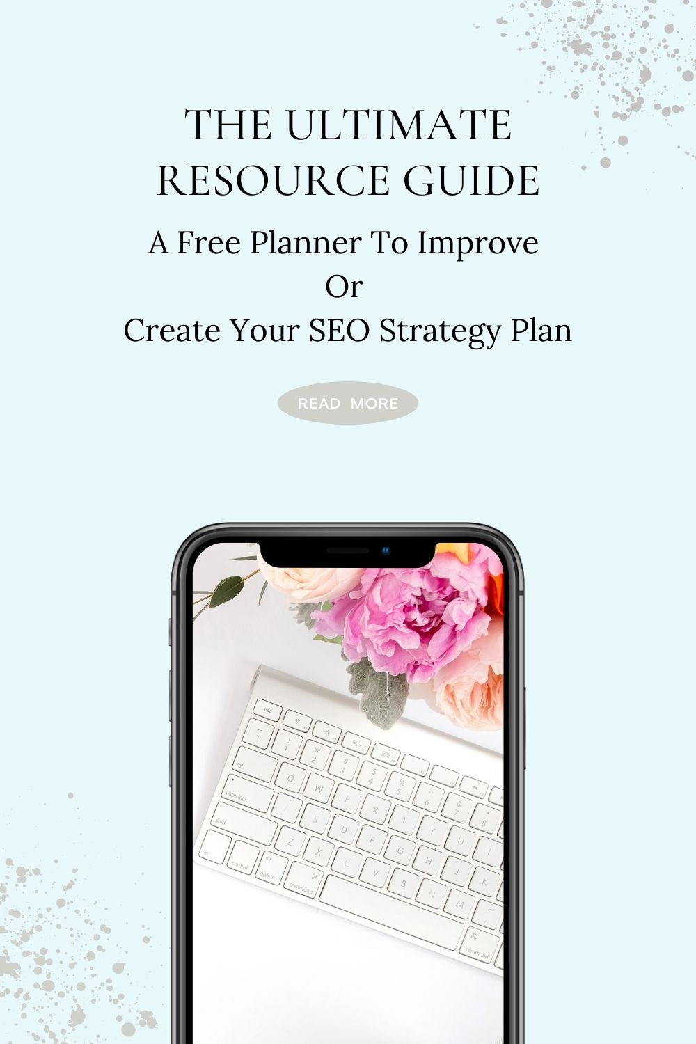 cellphone mockup with flowers and keyboard