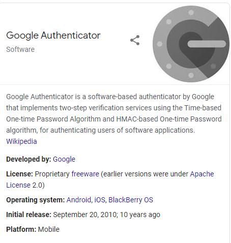 screenshot of the Google Authenticator app