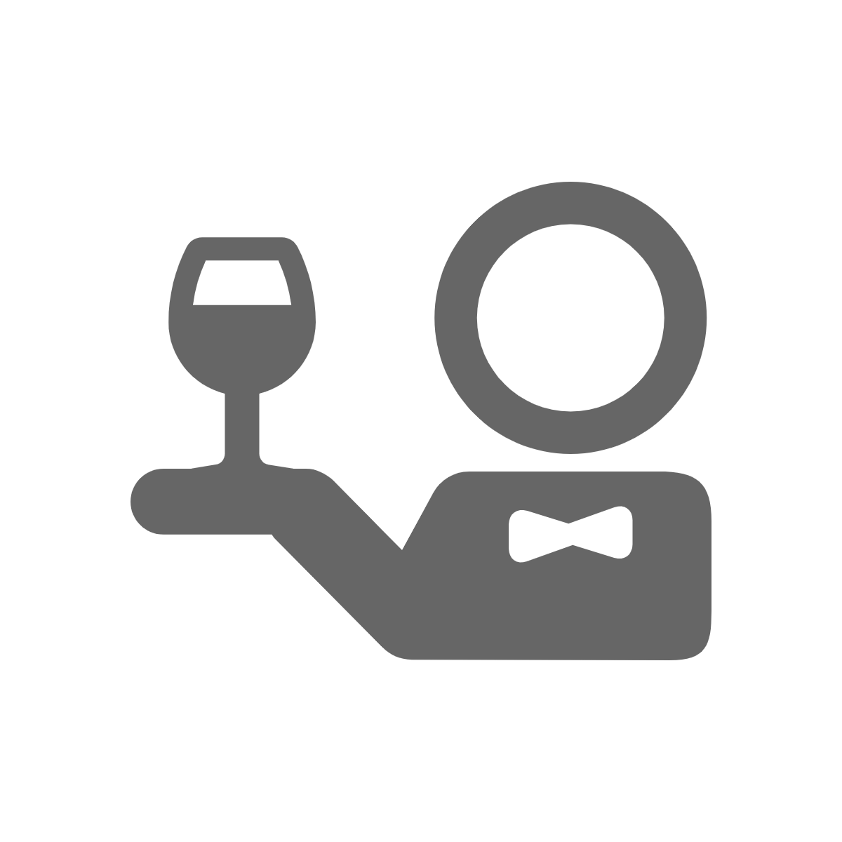 an icon of a waiter with a glass of champagne