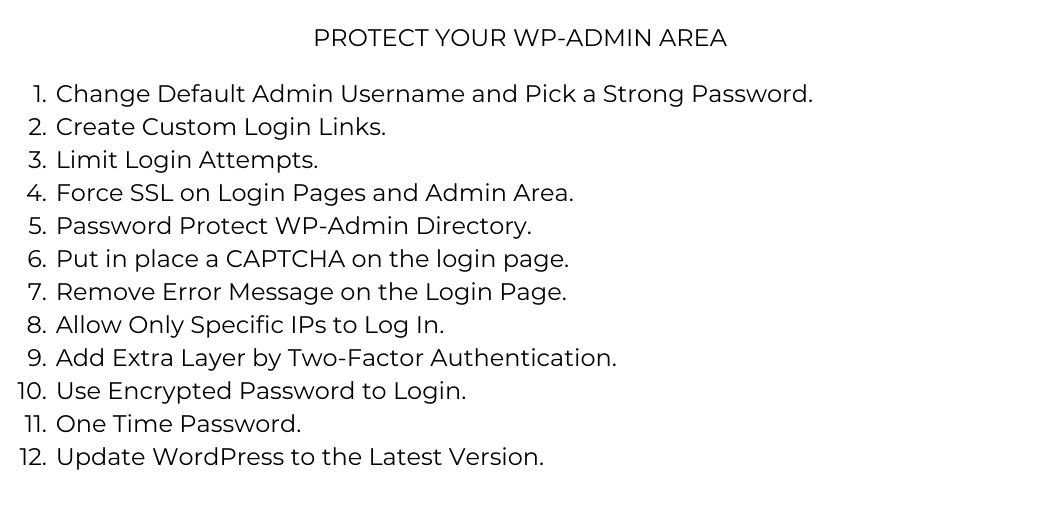 12 tips to secure your wp-admin section